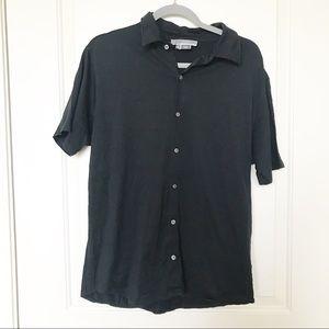 MICHAEL KORS • 100% Pima Cotton Black Button Up